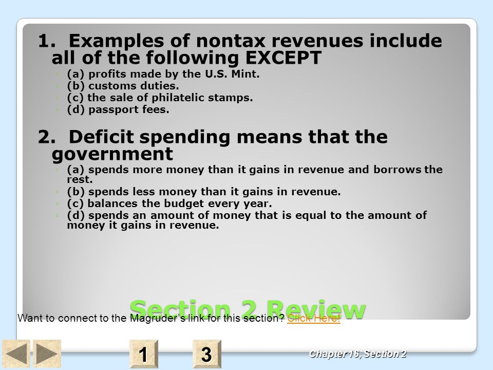 1. Examples of nontax revenues include all of the following EXCEPT