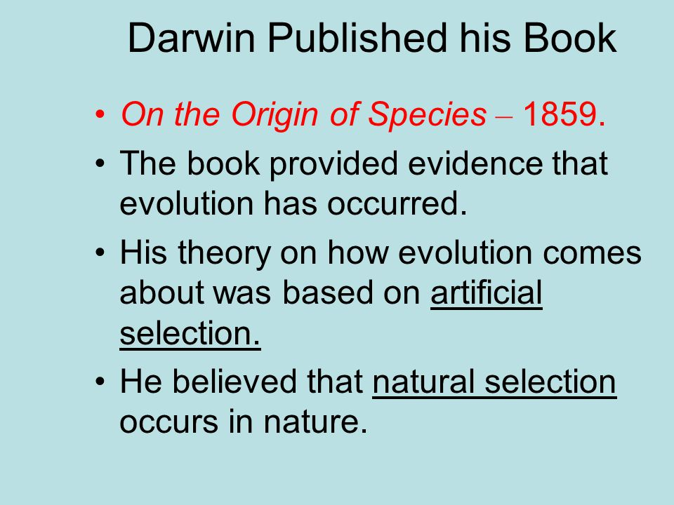 Darwin Published his Book