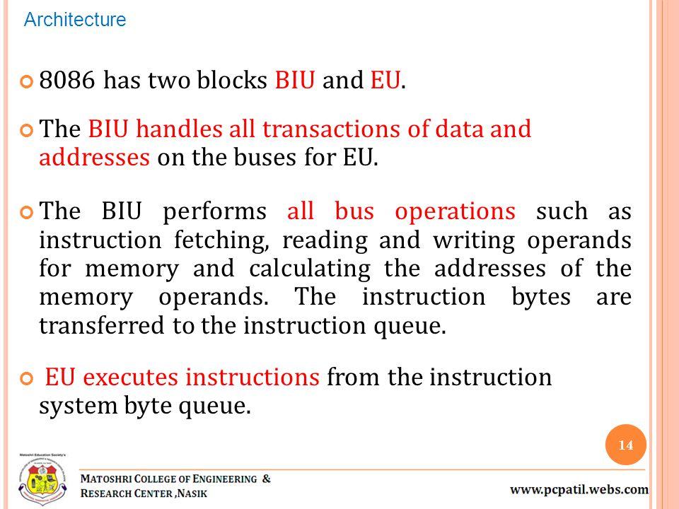 8086 has two blocks BIU and EU.