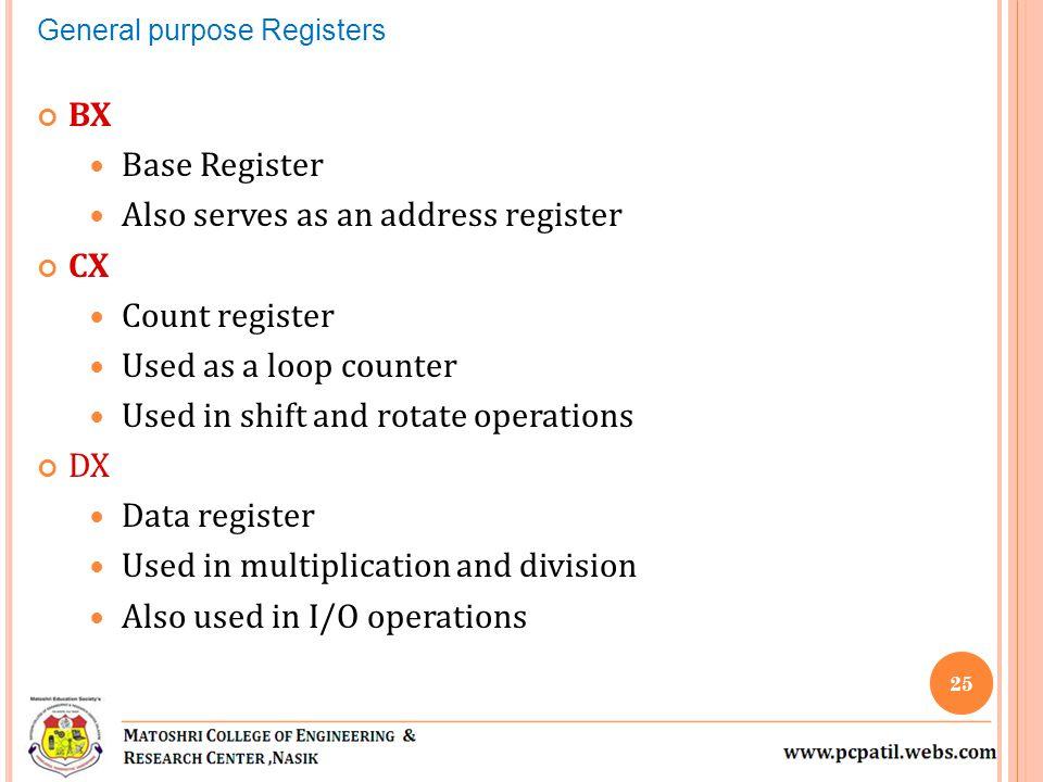Also serves as an address register CX Count register