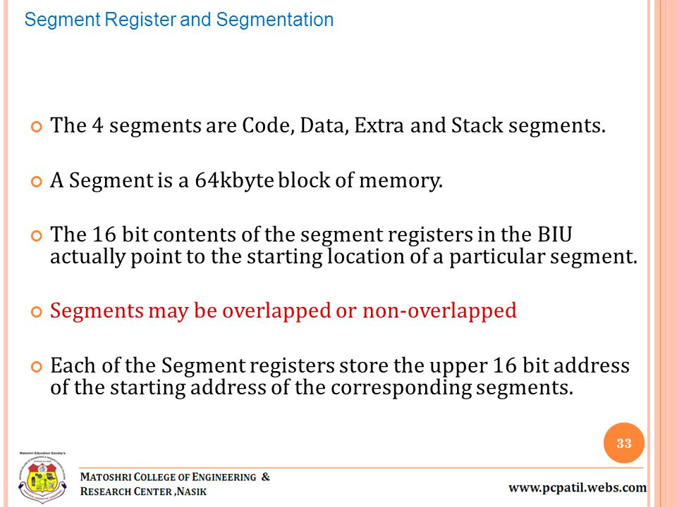 The 4 segments are Code, Data, Extra and Stack segments.