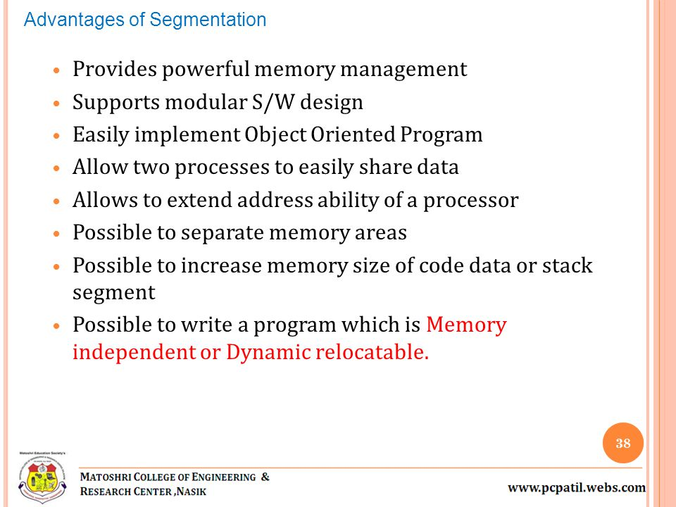 Provides powerful memory management Supports modular S/W design