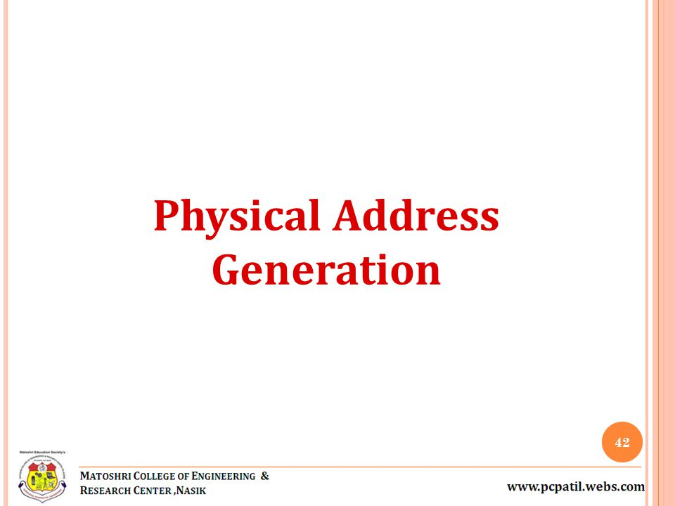 Physical Address Generation