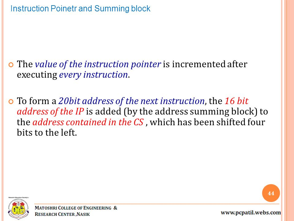 Instruction Poinetr and Summing block