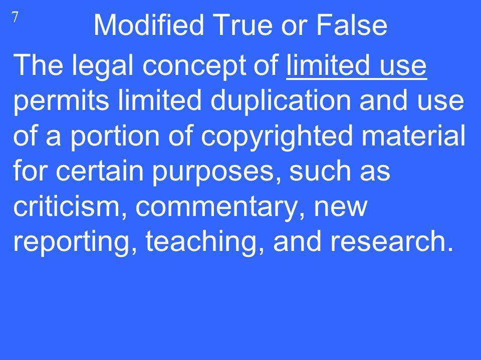 Modified True or False 7.