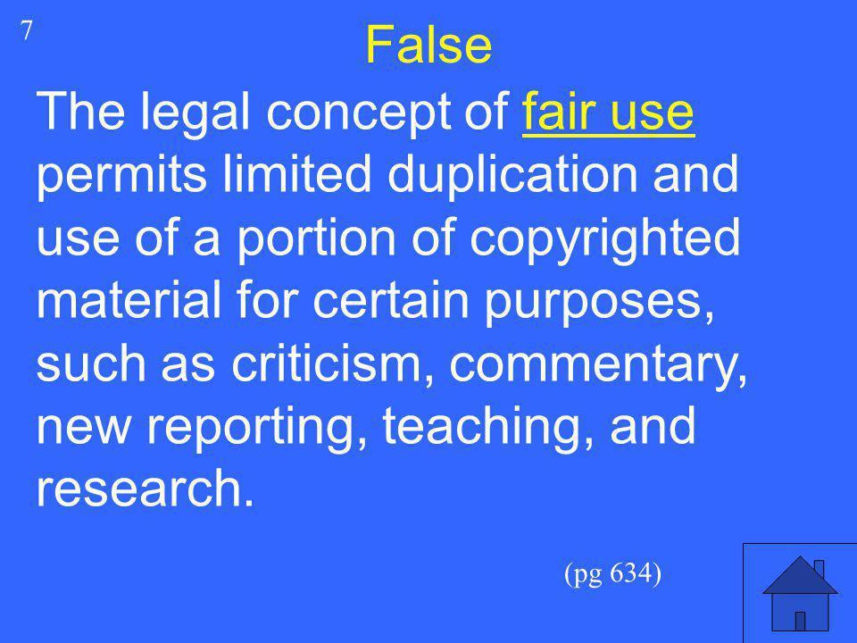 False 7.