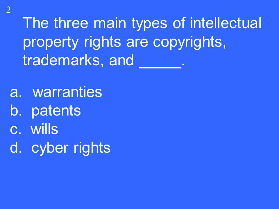 2 The three main types of intellectual property rights are copyrights, trademarks, and _____. warranties.