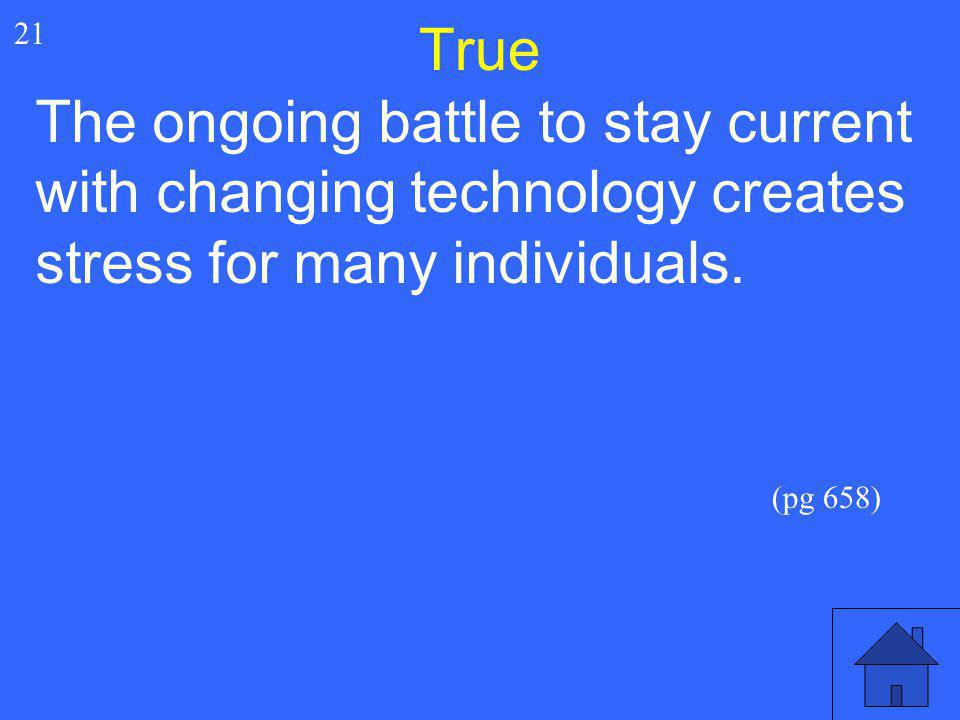 True 21. The ongoing battle to stay current with changing technology creates stress for many individuals.