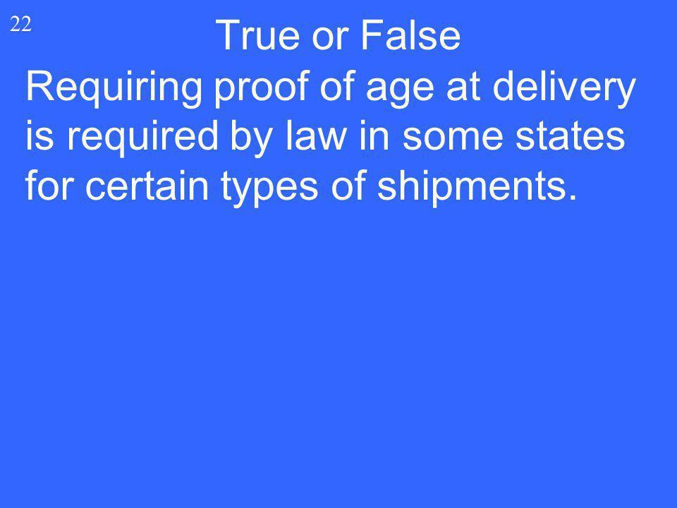 True or False 22.