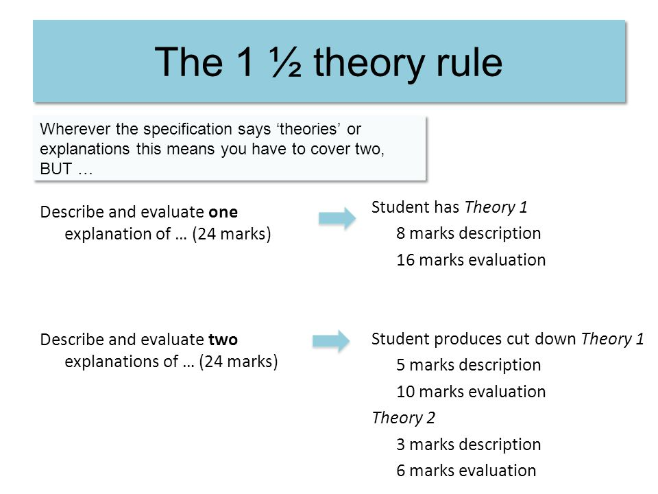 The 1 ½ theory rule Student has Theory 1