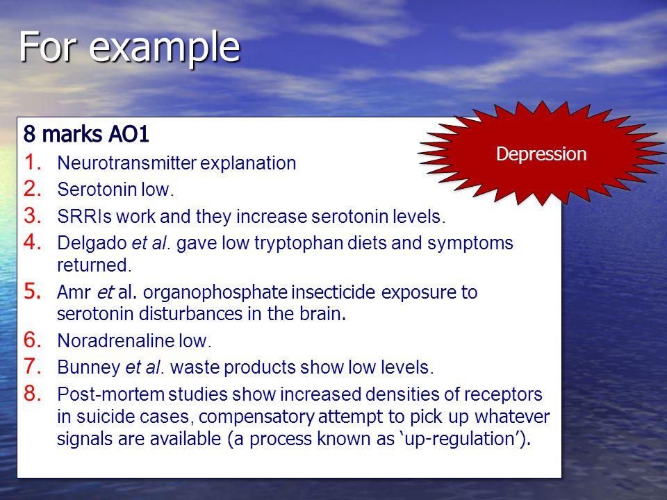 For example 8 marks AO1 Depression Neurotransmitter explanation