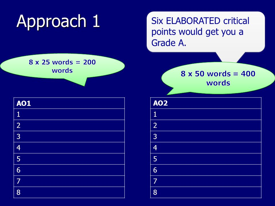 Approach 1 Six ELABORATED critical points would get you a Grade A.