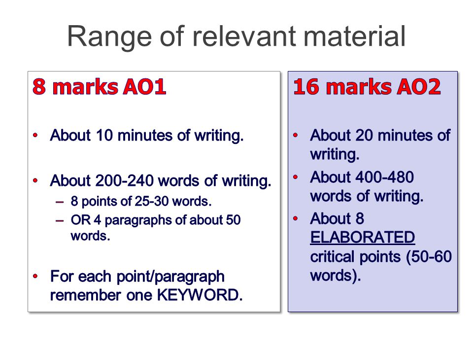 Range of relevant material