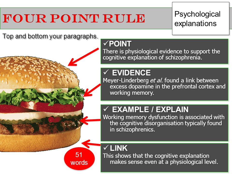 FOUR POINT RULE Psychological explanations POINT EVIDENCE