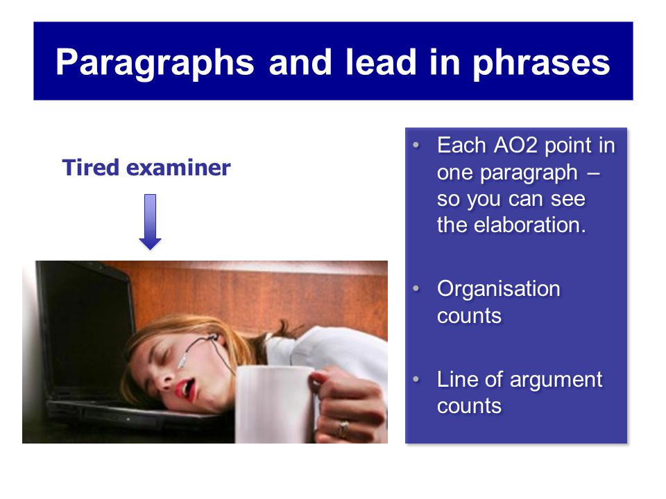 Paragraphs and lead in phrases