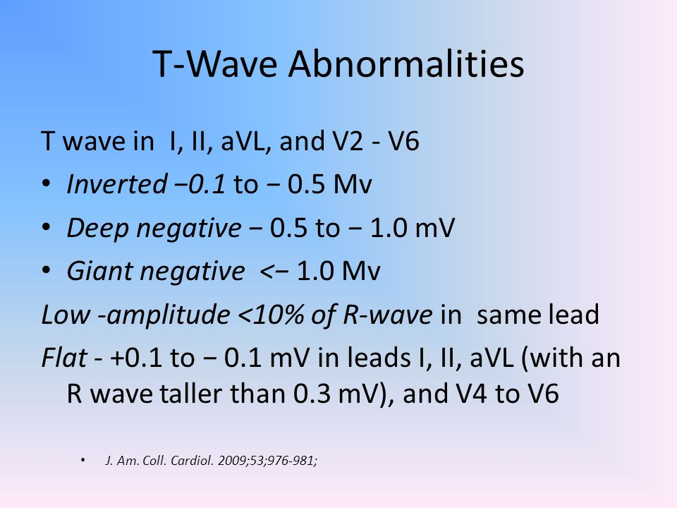 T-Wave Abnormalities T wave in I, II, aVL, and V2 - V6