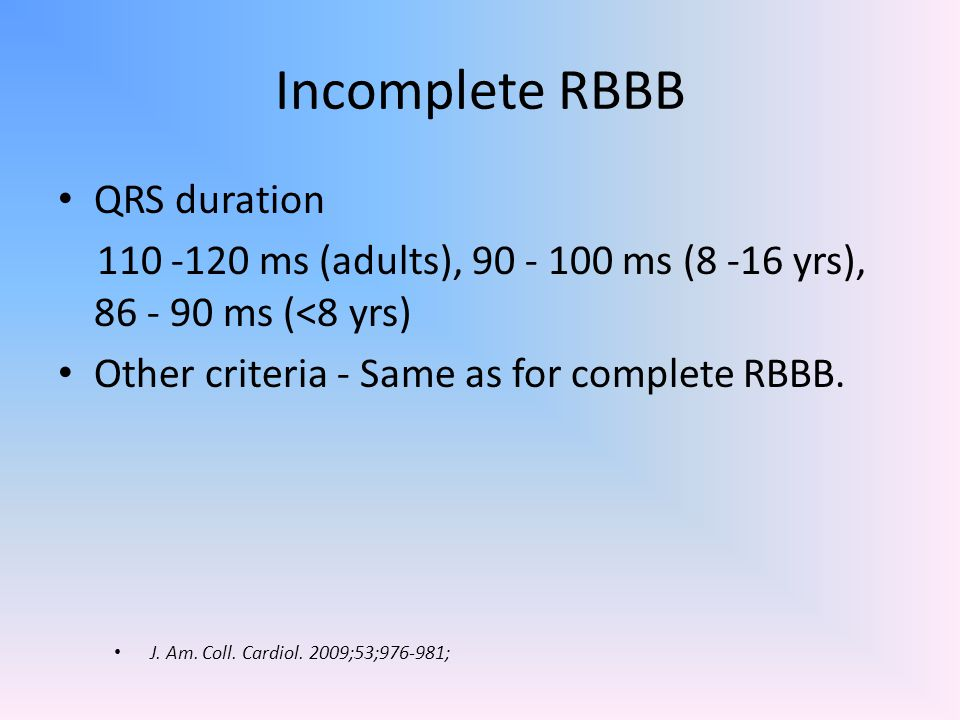 Incomplete RBBB QRS duration