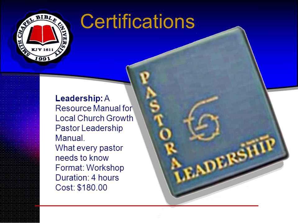Certifications Leadership: A Resource Manual for Local Church Growth