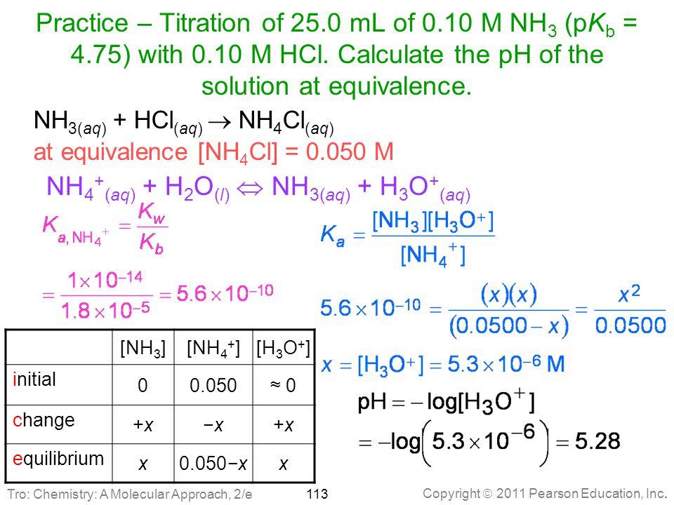 NH4+(aq) + H2O(l)  NH3(aq) + H3O+(aq)