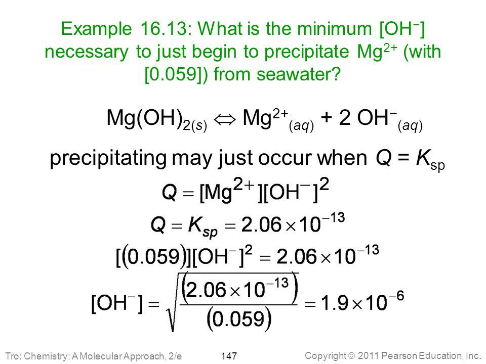 Mg(OH)2(s)  Mg2+(aq) + 2 OH−(aq)