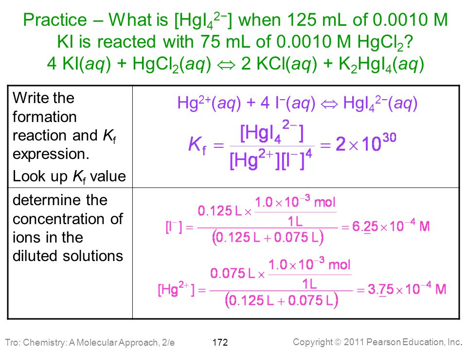 Hg2+(aq) + 4 I−(aq)  HgI42−(aq)