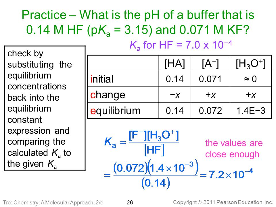 Practice – What is the pH of a buffer that is 0. 14 M HF (pKa = 3