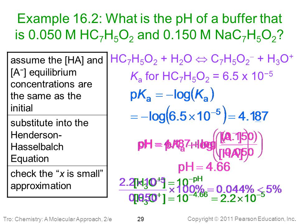Example 16. 2: What is the pH of a buffer that is 0
