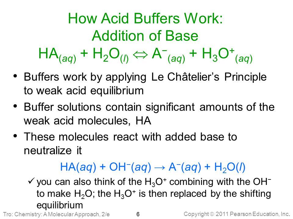HA(aq) + OH−(aq) → A−(aq) + H2O(l)