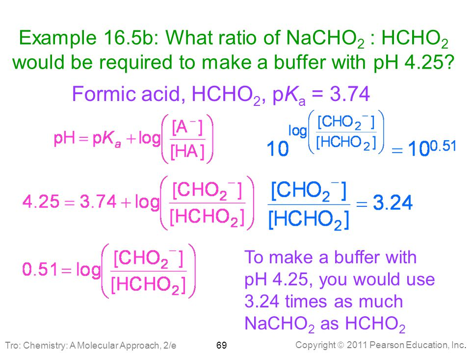 Example 16.5b: What ratio of NaCHO2 : HCHO2 would be required to make a buffer with pH 4.25
