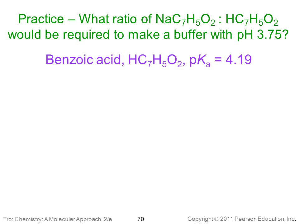 Practice – What ratio of NaC7H5O2 : HC7H5O2 would be required to make a buffer with pH 3.75