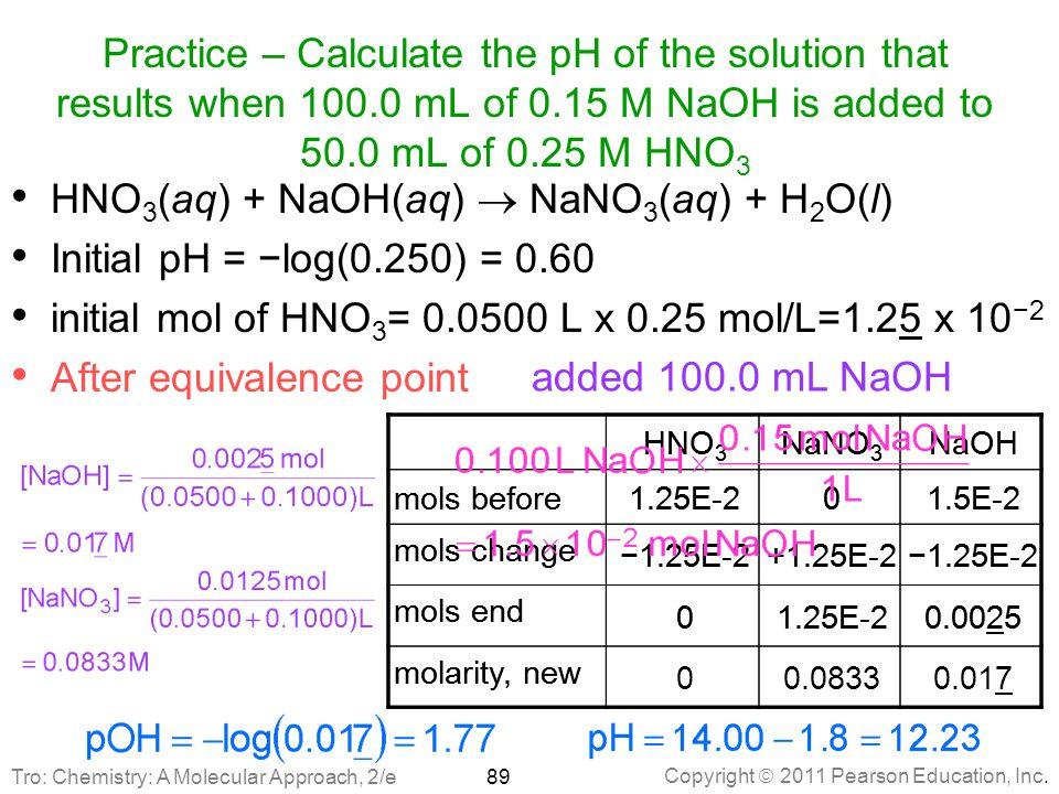 HNO3(aq) + NaOH(aq)  NaNO3(aq) + H2O(l)
