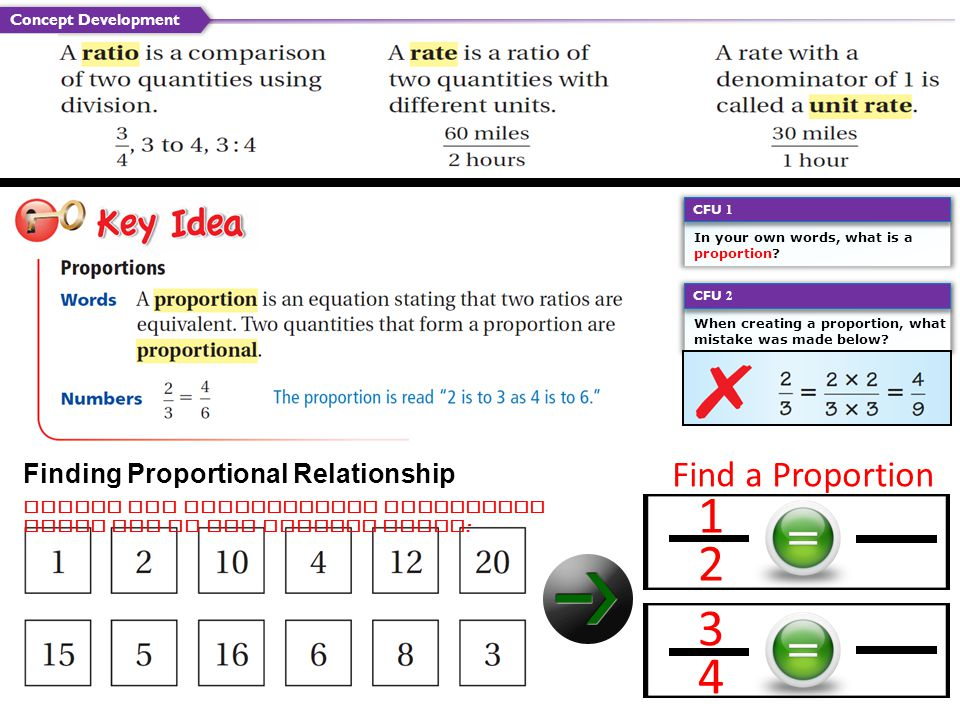 1 2 3 4 Find a Proportion Finding Proportional Relationship