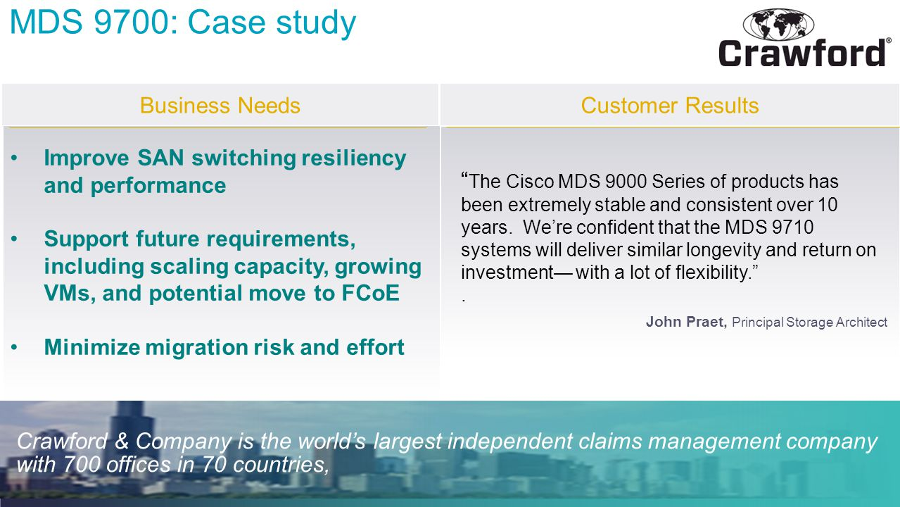 MDS 9700: Case study Business Needs Customer Results