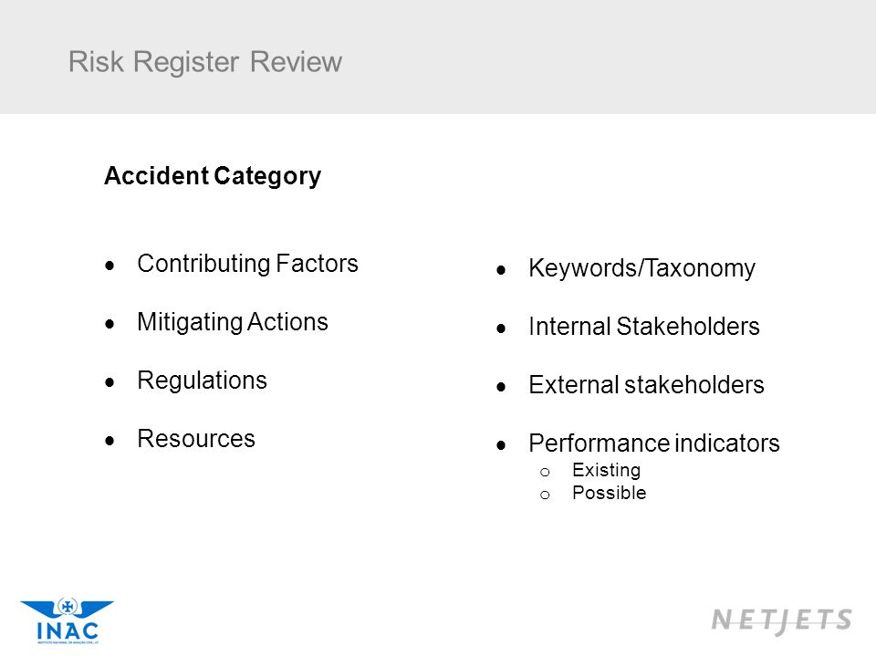 Risk Register Review Accident Category Contributing Factors