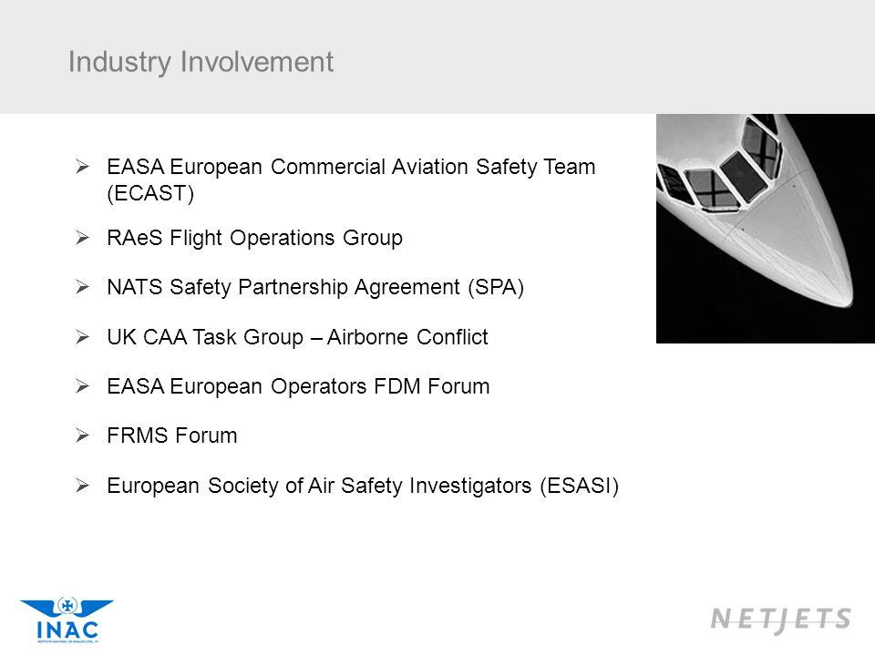 Industry Involvement EASA European Commercial Aviation Safety Team (ECAST) RAeS Flight Operations Group.