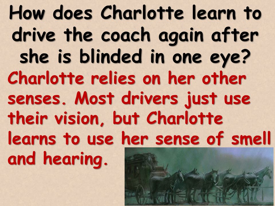 How does Charlotte learn to drive the coach again after she is blinded in one eye