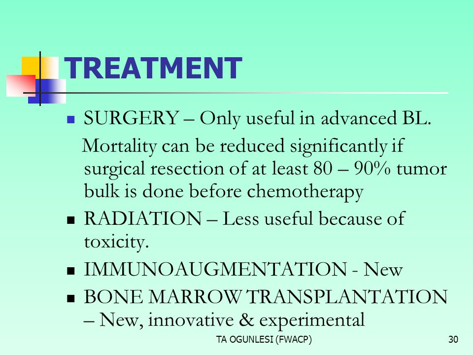 TREATMENT SURGERY – Only useful in advanced BL.