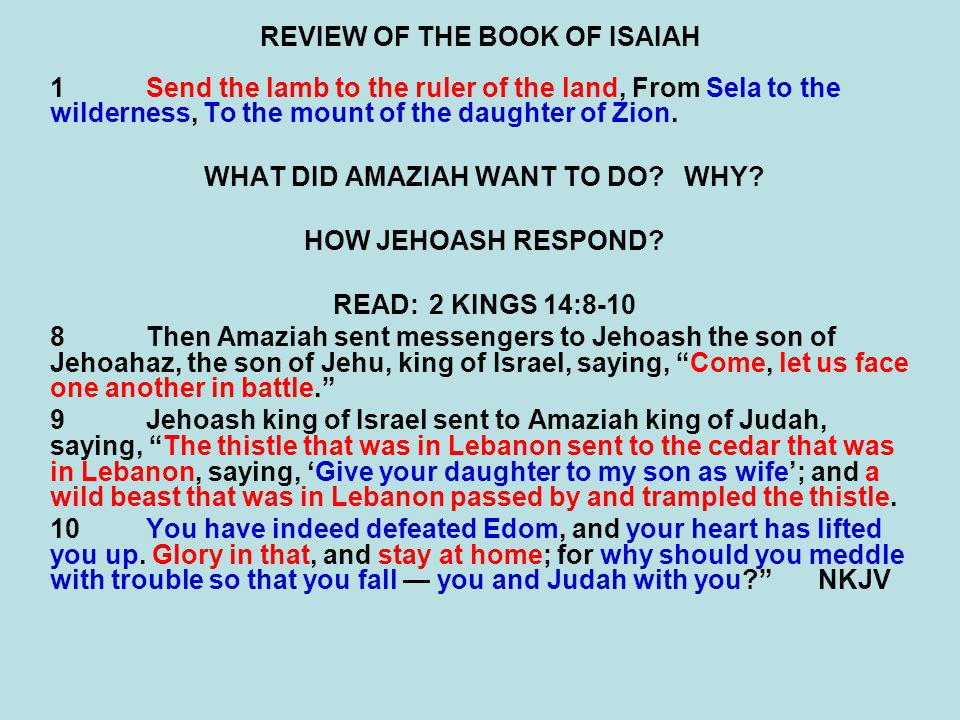 REVIEW OF THE BOOK OF ISAIAH