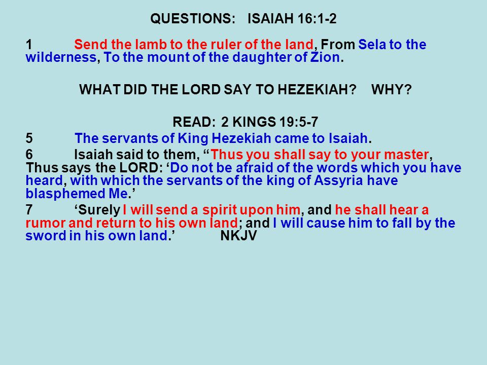 WHAT DID THE LORD SAY TO HEZEKIAH WHY