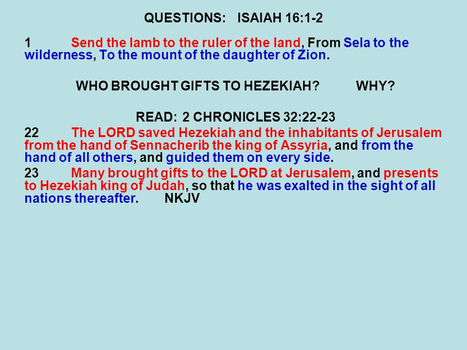 WHO BROUGHT GIFTS TO HEZEKIAH WHY