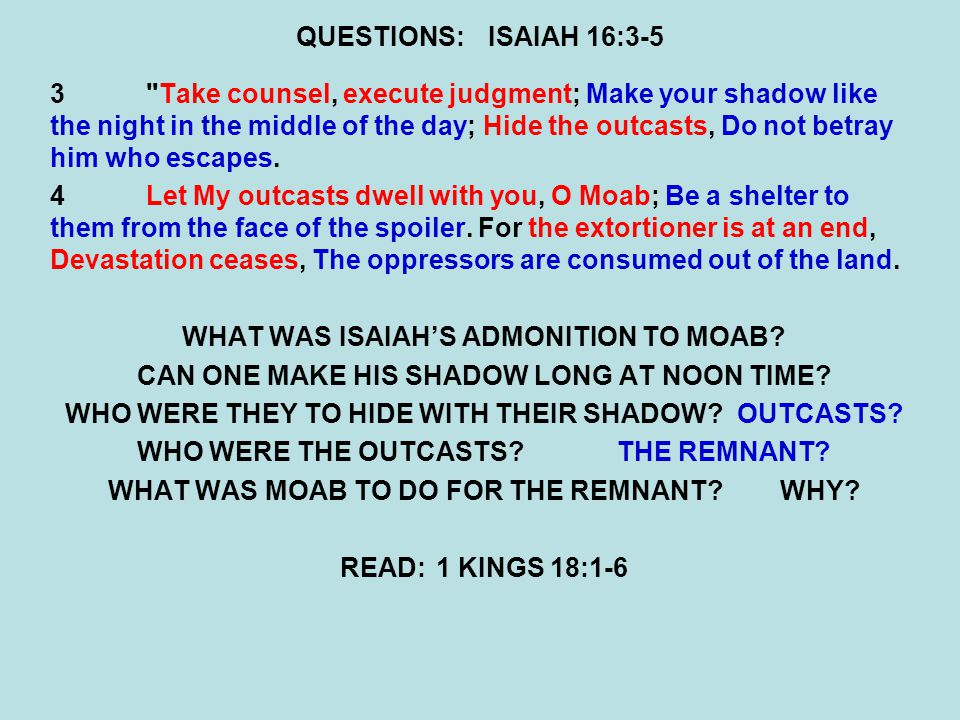 WHAT WAS ISAIAH'S ADMONITION TO MOAB