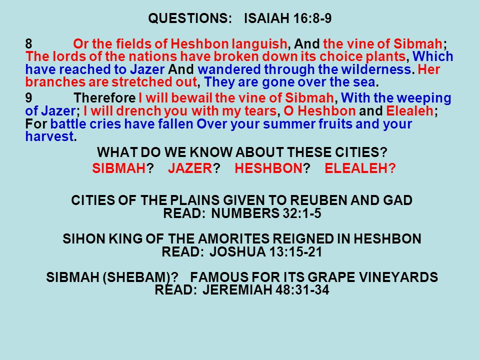 WHAT DO WE KNOW ABOUT THESE CITIES SIBMAH JAZER HESHBON ELEALEH