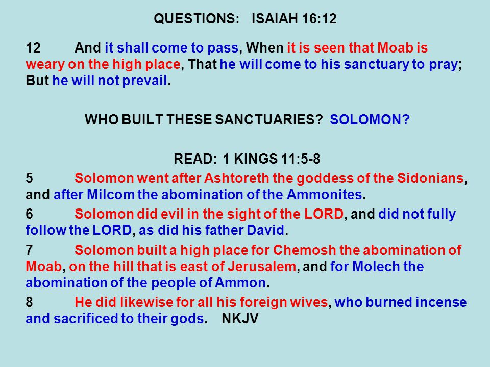 WHO BUILT THESE SANCTUARIES SOLOMON