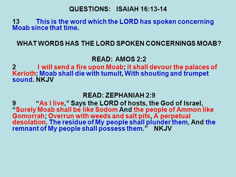 WHAT WORDS HAS THE LORD SPOKEN CONCERNINGS MOAB