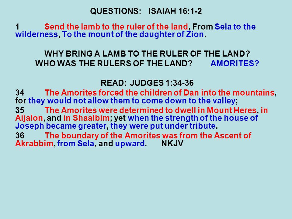 WHY BRING A LAMB TO THE RULER OF THE LAND
