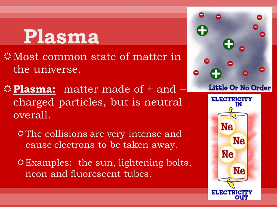 Plasma Most common state of matter in the universe.
