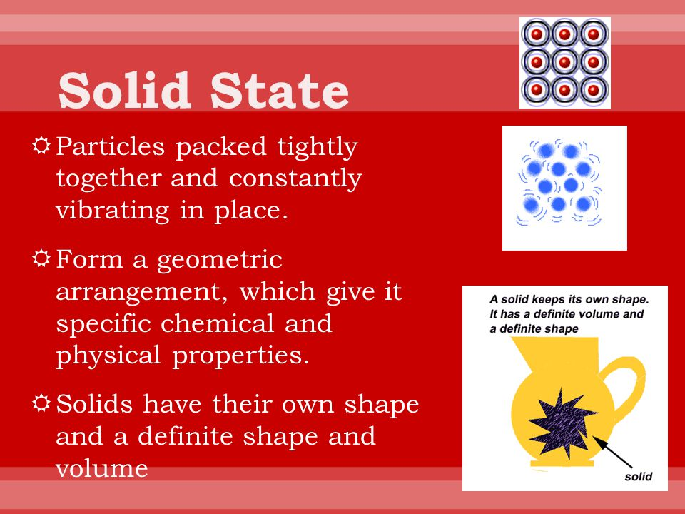 Solid State Particles packed tightly together and constantly vibrating in place.