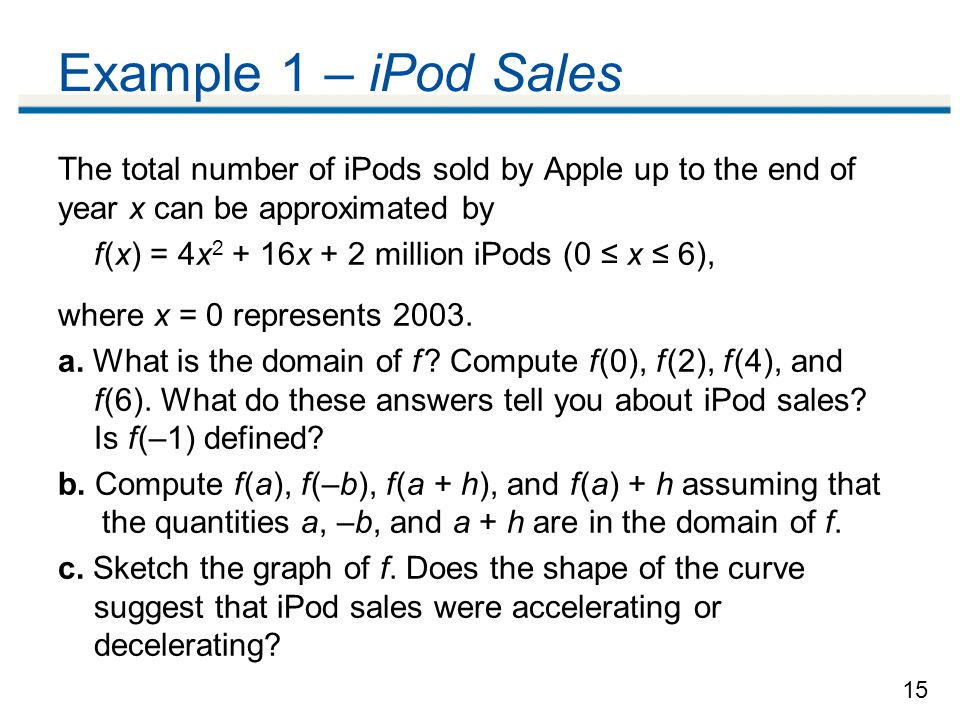 Example 1 – iPod Sales The total number of iPods sold by Apple up to the end of year x can be approximated by.