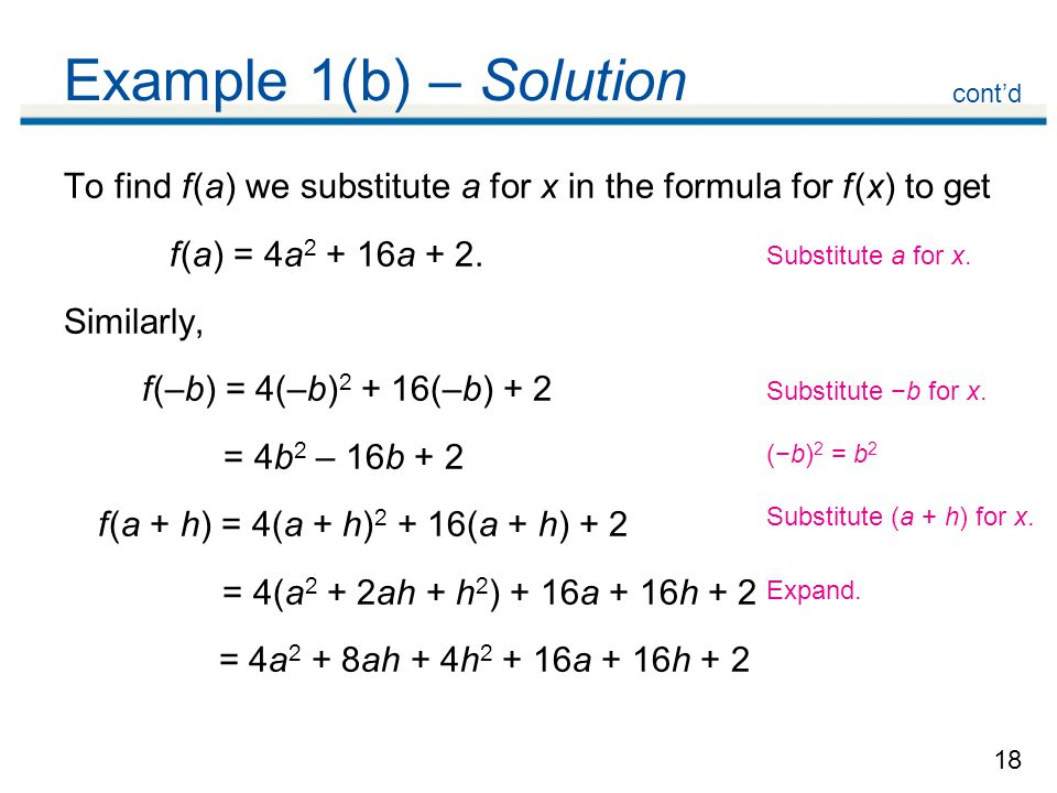 Example 1(b) – Solution cont'd. To find f (a) we substitute a for x in the formula for f (x) to get.