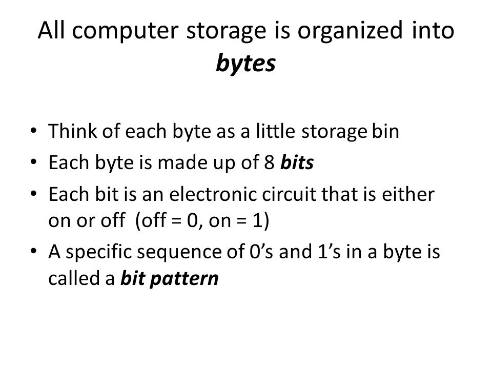 All computer storage is organized into bytes